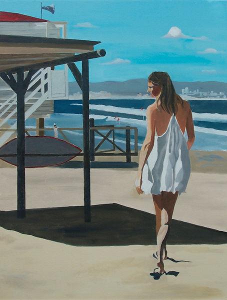 ציור חיפה חוף ים נערה שמלה לבנה סוכת מציל