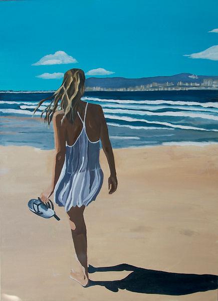 ציור חיפה חוף ים נערה שמלה לבנה