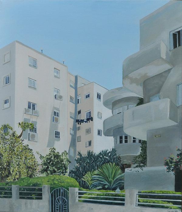 ציור תל אביב עיר לבנה קיץ רחוב ביאליק