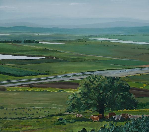 ציור נוף עמק יזרעאל אביב עץ אלון