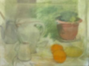טבע דומם לימון שני תפוזים עציץ אגרטל ועו