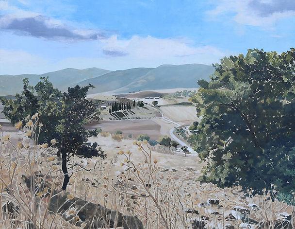ציור נוף עמק יזרעאל הר כרמל קיץ