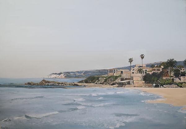 ציור נוף חוף ים ראש הנקרה אכזיב
