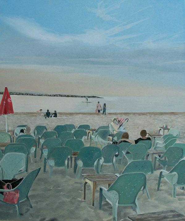 ציור נוף חוף ים תל אביב שקיעה כסאות