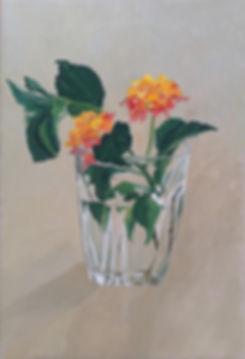ציור לנטנה פרח בכוס זכוכית painting of Lantana in a glass