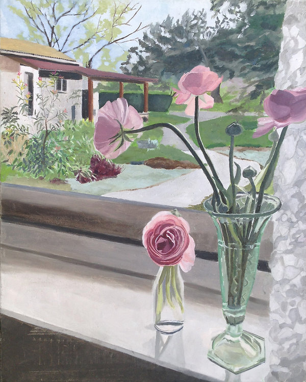 ציור נוף מחלון נשקף אל הקיבוץ נוריות על אדן חלון