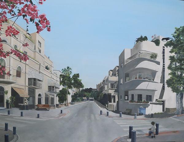תמונה תל אביב עיר לבנה קיץ בתים ועצים