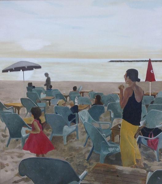 ציור נוף חוף ים תל אביב אמא ילדה