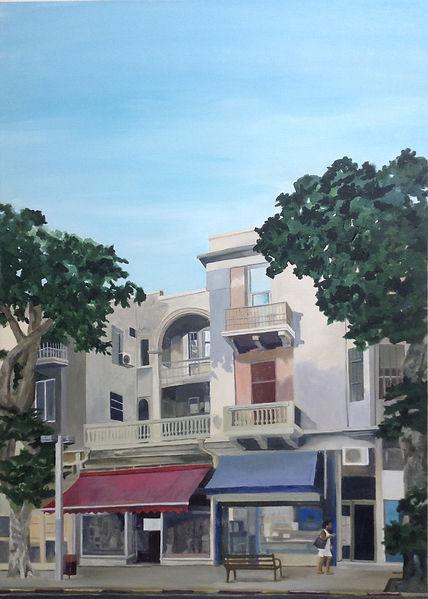 תמונה תל אביב עיר לבנה קיץ רחוב אלנב