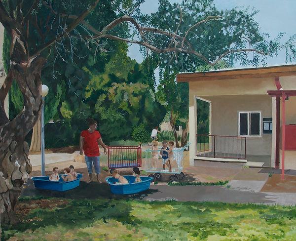 ציור קיבוץ בית העמק עגלול קיץ ילדים בית תינוקות בריכה