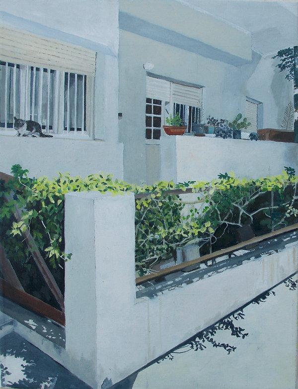 ציור תל אביב עיר לבנה קיץ פינה ברחוב ביאליק