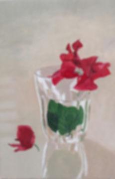 ציור בוגנוויליה פרח בכוס זכוכית painting of bougainvillea in aglass