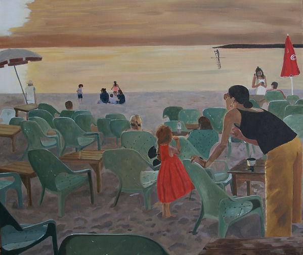ציור חוף ים תל אביב שקיעה אמא בת
