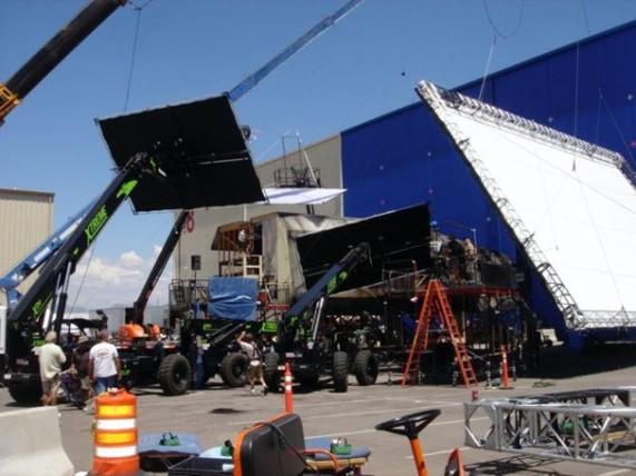 Big lighting set up on Terminator Salvation.  It was so hot outside!