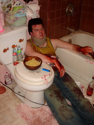 Just another bloody day at work on the set of Pineapple Express.  Danny McBride was so fun to work with!