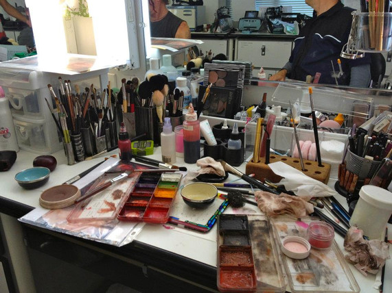 Makeup mess after getting Robert Patrick ready for a bloody scene in Identity Theft.