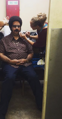 On the set of Im Dying Up Here making sure the sideburns stayed on Erik Griffin.