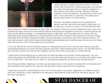Studio Newsletter- May 2020