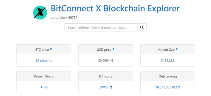 The bitconnectX blockchain, BitConnect X / bitconnectX Genesis / BCCX ( BTC Price & Market Data ) is now available within the BlockExplorer UI, at the cryptocurrency ledger website CryptoID.info, Via CoinGecko.