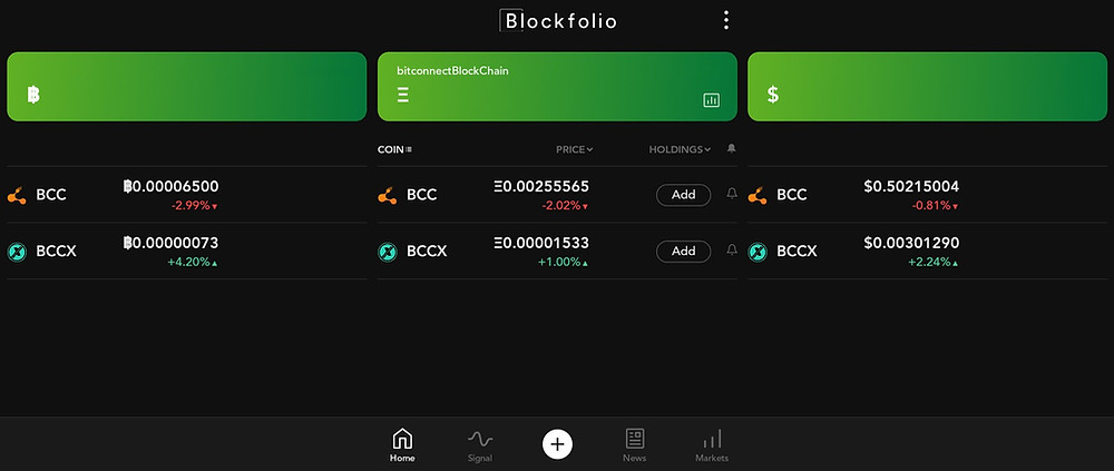 BCC data is live under the original listing on Blockfolio, via Unnamed.Exchange 💱  Please vote to update / complete the listing, enable the BitConnect Coin / bitconnectCoin blockchain market data to new users / miners on iOS, Android & SlackHQ 🗳️