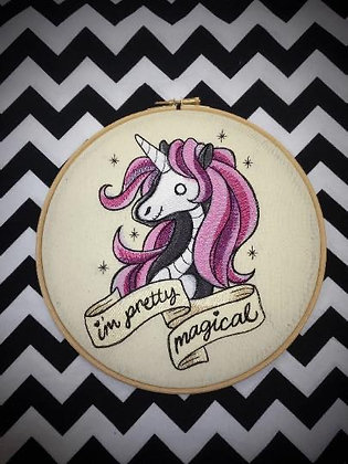 "Im Pretty Magical Unicorn 10"" embroidery hoop art"