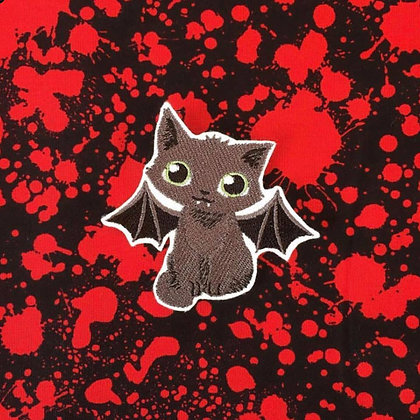 Bat Kitty with Green eyes Patch