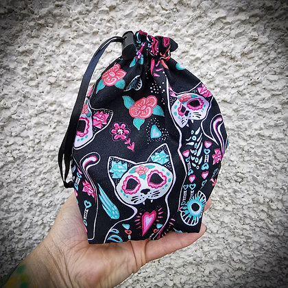 Day of the Dead Kitty Drawstring Bag