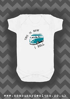 Blue VW Camper Van Baby Vest
