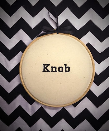 "Knob 8""embroidered wall art"