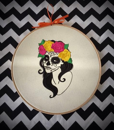 "Day of the Dead Lady 9"" embroidered wall art"