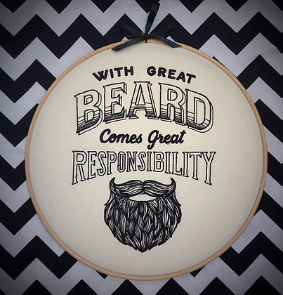 "Great Beard 10"" embroidery hoop art"