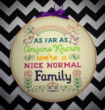 """Nice Normal Family 9"""" embroidered wall art"""