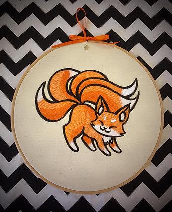 "Kitsune 10"" embroidered wall art"