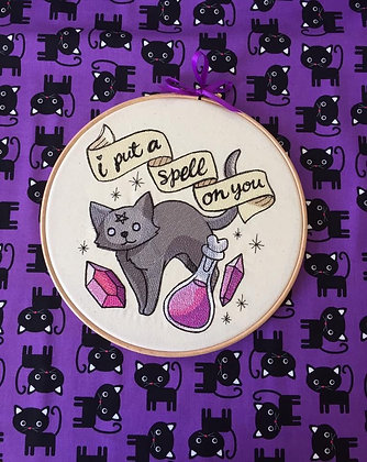 "Spell Kitty 10"" Embroidery hoop"