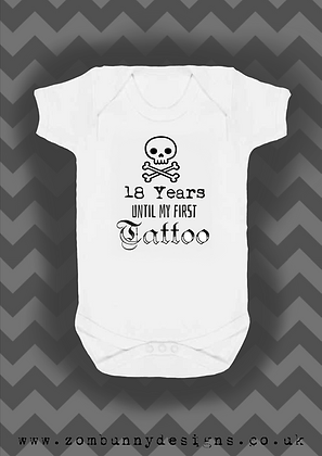 18 years until my first tattoo baby vest (skull)