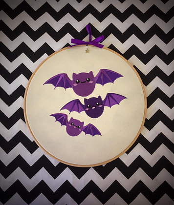 "Cute Bat 10"" embroidered wall art"