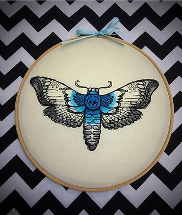 "Lace Moth 10"" embroidery hoop art"