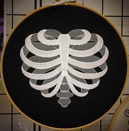 """Ribcage Heart 9"""" embroidered wall art"""