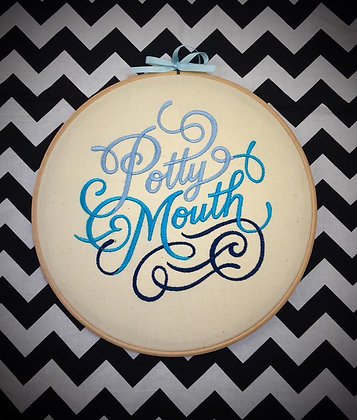 "Potty Mouth 10"" embroidered wall art"