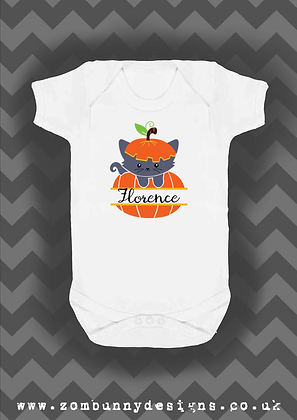 Pumpkin cat Baby Vest with free personalisation