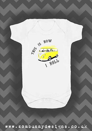 Yellow VW Camper Van Baby Vest