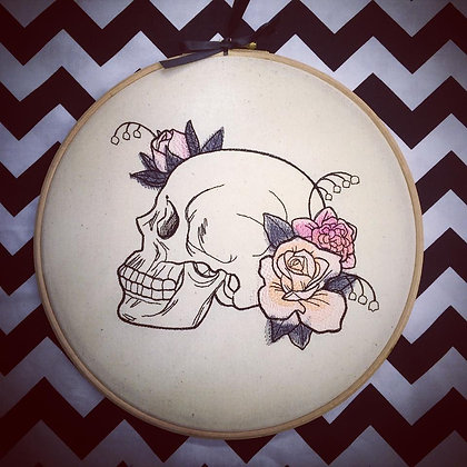 "Delicate Skull 10"" embroidered wall art"