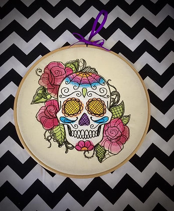 """Lace Sugar Skull 9"""" embroidered wall art"""