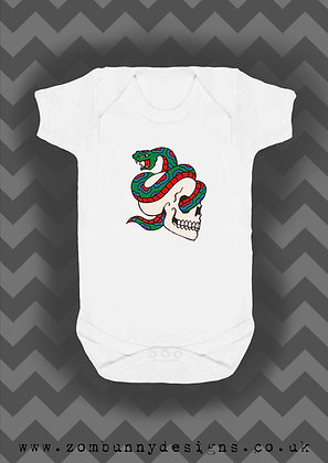 Skull and Snake tattoo baby vest