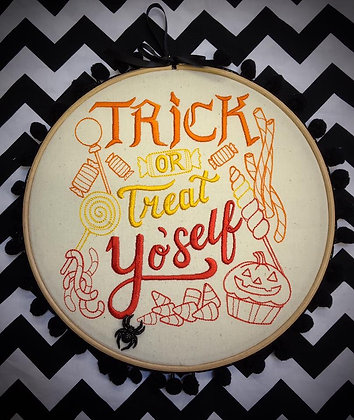 "Trick or Treat 10"" embroidered wall art with pom-poms"