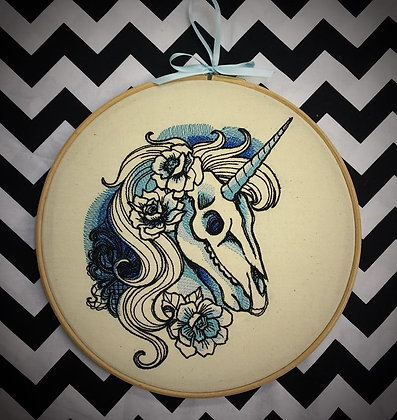 "Skeleton Unicorn 10"" embroidered wall art (one supplied)"