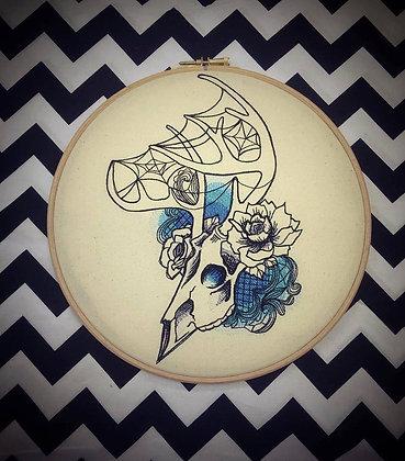 "Deer Skull 10"" embroidered wall art"