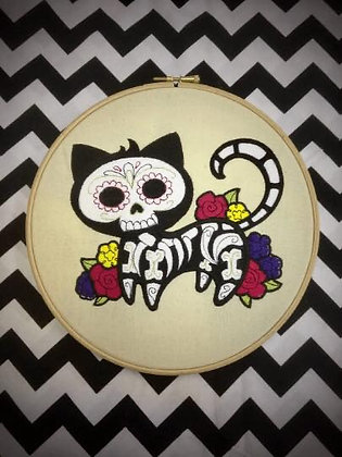 "Day of the Dead Kitty 10"" embroidery hoop art"