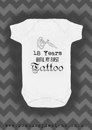 18 years until my first tattoo baby vest (tattoo gun)