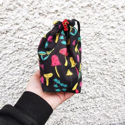 Black Mushroom Foraging drawstring bag